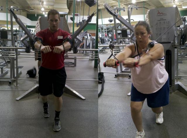 Dual cable cross lunge