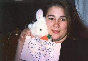 A shout-out photo from the mid-90s to the love of my life.