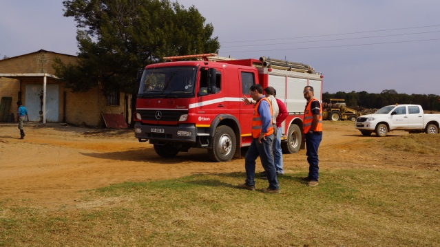 Fire Truck and Discussion at Beginning veld fires grass fires South Africa