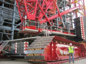 Kurt's weakness at work is his love for construction machinery, like this 1200 ton crane.