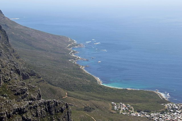 Looking down from Table Mountain.