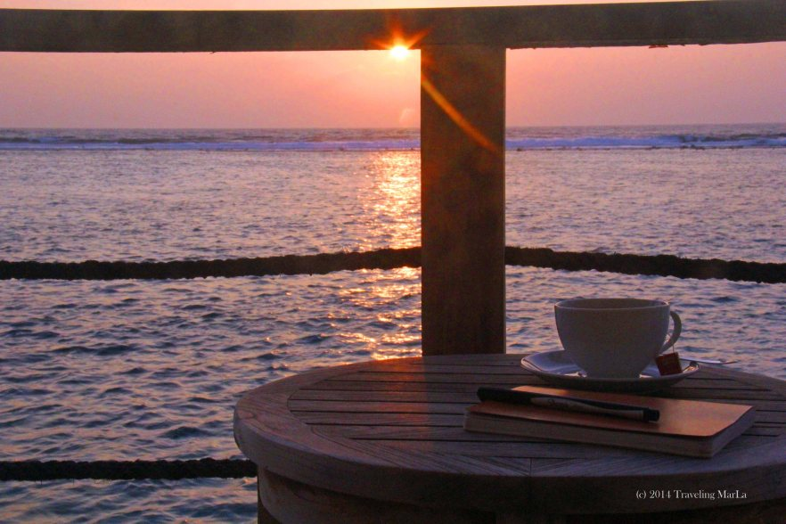 Writing at sunrise over the Indian Ocean.