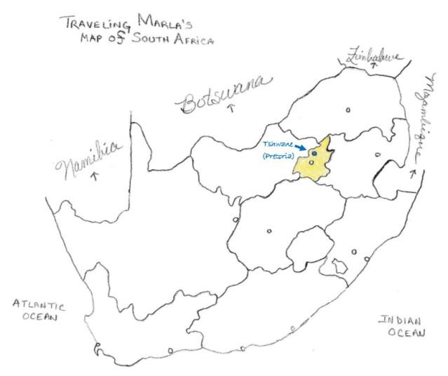 Pretoria Tshwane South Africa map